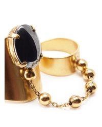 Ela Stone | Metallic Liad Hemitate Two Finger Ring | Lyst