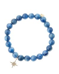Sydney Evan - Blue Kyanite Round Beaded Bracelet With 14K Gold/Diamond Small Starburst Charm (Made To Order) - Lyst