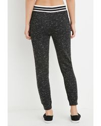 Forever 21   Black Striped-waist Marled Sweatpants You've Been Added To The Waitlist   Lyst
