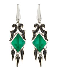 Stephen Webster | Synthetic Chrysophrase & Black Sapphire Spike Drop Earrings | Lyst