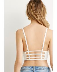 Forever 21 | White Caged Back Cropped Cami | Lyst