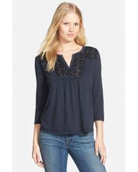 Lucky Brand - Blue Lace Detail Cotton Top - Lyst