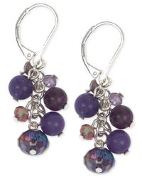 Jones New York | Silver-tone Purple Bead And Stone Cluster Earrings | Lyst