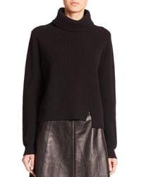 Proenza Schouler | Black Front-slit Turtleneck Sweater | Lyst