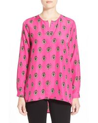 Cece by Cynthia Steffe | Pink 'jewelle' Print High/low Blouse | Lyst