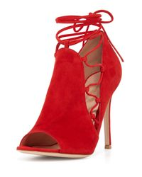 Gianvito Rossi - Red Lace-Up Suede Ankle Boots - Lyst