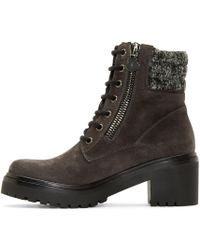 Moncler | Gray Grey Suede And Tweed Viviane Boot | Lyst