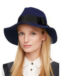 kate spade new york - Blue Classic Fedora With Grosgrain Tab Bow - Lyst