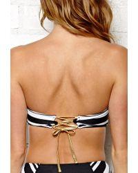 Forever 21 - Black Regency Striped Corset Bikini Top - Lyst