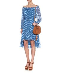 Diane von Furstenberg - Blue Camila Dotted Batik Off-the-shoulder Dress - Lyst