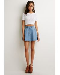 Forever 21 - White Cropped Open-knit Top - Lyst