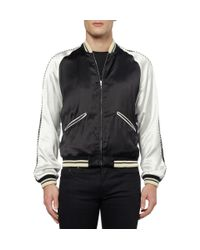 Saint Laurent | Black Blood Lustre Embellished Bomber Jacket for Men | Lyst