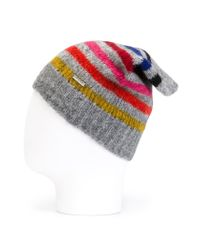 DIESEL | Gray Striped Beanie for Men | Lyst