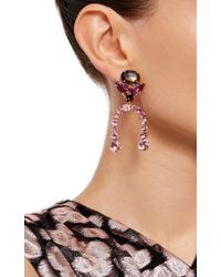 Bounkit | Multicolor Amethyst And Carved Smoky Topaz Clip-on Earrings | Lyst