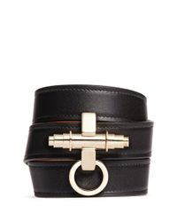 Givenchy | Black 'obsedia' Triple Wrap Leather Bracelet | Lyst