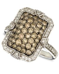 Le Vian - Metallic Diamond White And Chocolate Diamond Rectangle Ring (1-3/8 Ct.T.W.) In 14K White Gold - Lyst