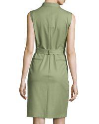 Lafayette 148 New York - Green Sleeveless Belted Stretch-Twill Sheath Dress - Lyst