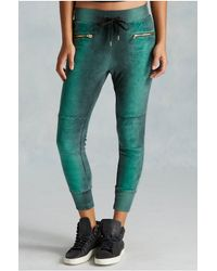 True Religion | Green Moto Zip Womens Sweatpant | Lyst