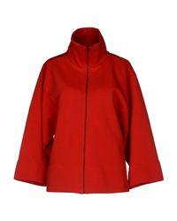 MM6 by Maison Martin Margiela - Red High-Neck Oversized Sweatshirt - Lyst