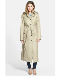 London Fog - Natural Hooded Long Single Breasted Trench Coat - Lyst