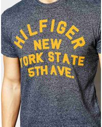 Hilfiger Denim | Gray T-shirt With Crew Neck In Navy for Men | Lyst