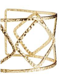 ASOS - Metallic Cut Out Hammered Cuff Bracelet - Lyst