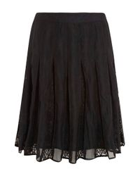 CLU | Black Paneled Lace Midi Skirt | Lyst