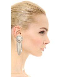 Sam Edelman | Metallic Fringe Disc Earrings - Rhodium | Lyst