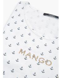 Mango | White Logo Print T-shirt | Lyst