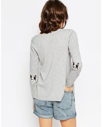 ASOS | Gray Sweater With French Bulldog Elbow Patch | Lyst