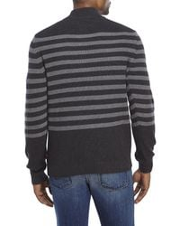 Izod | Black Striped Quarter-Zip Sweater for Men | Lyst