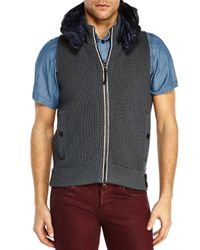 Stone Island - Gray Charcoal Hooded Knit Vest for Men - Lyst