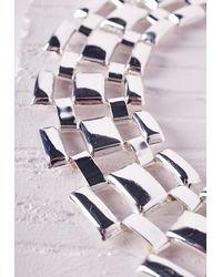Missguided - Metallic Linked Statement Collar Silver - Lyst