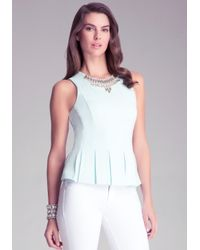 Bebe | Blue Embellished Peplum Top | Lyst