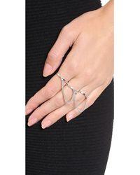 Eddie Borgo - Metallic Three Finger Ring - Silver - Lyst