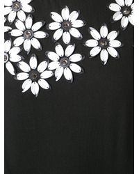 DKNY - Black Sequin Flower Short Sleeve T-Shirt - Lyst