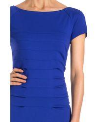 ESCADA   Blue Short-sleeve Vertical Seam Sheath Dress   Lyst