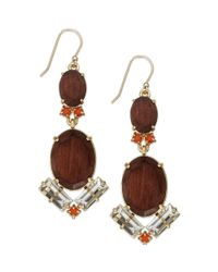 kate spade new york - Metallic New York Goldtone Wood Bead and Stone Tile Drop Earrings - Lyst