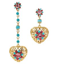Betsey Johnson | Pink Semiprecious Mismatch Drop Earrings | Lyst