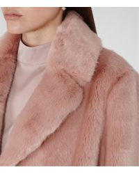 Reiss - Pink Alba Faux-fur Coat - Lyst