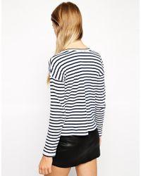 ASOS | Blue Tall Long Sleeve Stripe Top | Lyst
