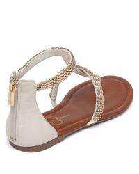 Jessica Simpson | Natural Ravenna Synthetic And Metal Thong Sandals | Lyst