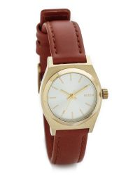 Nixon - Brown Small Time Teller Watch - Light Gold/saddle - Lyst