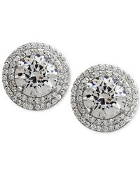 Arabella | Metallic Sterling Silver White Swarovski Zirconia Pave-set Stud Earrings (7-3/8 Ct. T.w.) | Lyst
