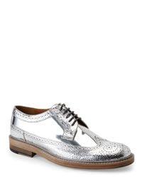Marc Jacobs - Silver Metallic Wingtip Oxfords for Men - Lyst