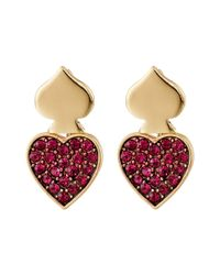 Betsey Johnson | Pink Casino Royale Pave Heart Front/back Earrings | Lyst
