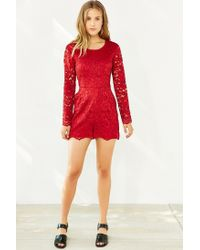 Kimchi Blue - Red Long-sleeve Lace Romper - Lyst