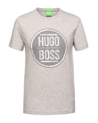 BOSS Green | Gray 'tee' | Cotton Logo Tee for Men | Lyst