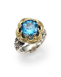 Konstantino | Hermione Blue Topaz, 18k Yellow Gold & Sterling Silver Floral Ring | Lyst