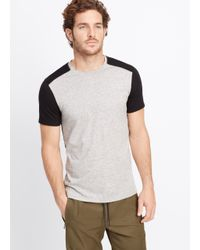 Vince | Black Jaspé Jersey Colorblock Crew Neck Tee for Men | Lyst